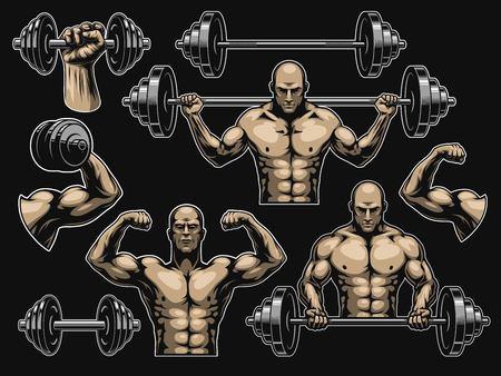 Insieme di elementi per bodybuilding isolato sul nero Archivio Fotografico - 93864452