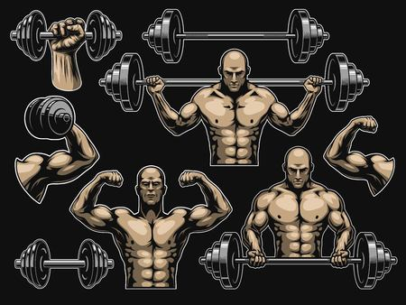 Set of elements for bodybuilding isolated on black Stock Vector - 93864452
