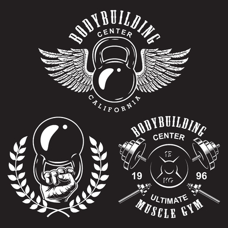 Set of bodybuilding emblems with wreath wings and sport equipment in white colour. Vector illustration Illusztráció