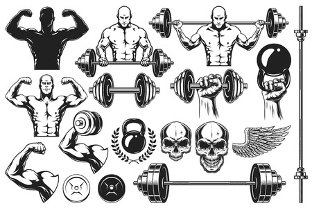 Set of monochrome elements for bodybuilding isolated on white