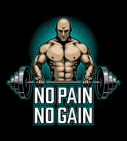 Bodybuilding poster with muscle man making excercise Çizim
