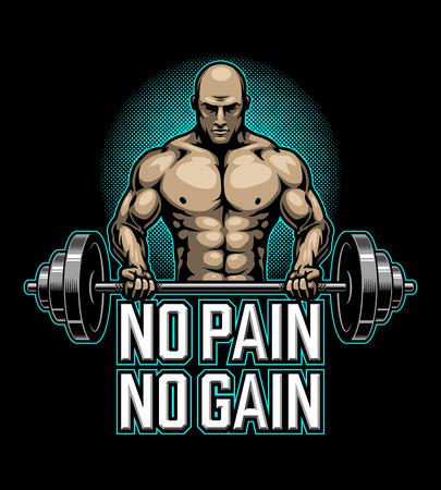 Poster di bodybuilding con uomo muscolare che fa esercizio Archivio Fotografico - 93864456