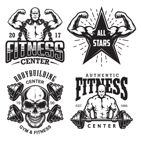 Set of bodybuilding emblems