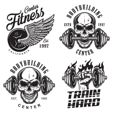 Set of bodybuilding emblems