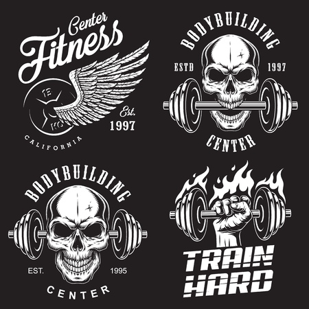 Set of bodybuilding emblems with skull wings and sport equipment in white colour. Vector illustration Vettoriali