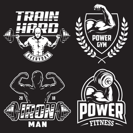 Set of monochrome bodybuilding emblems with male silhouettas and sport equipment in white colour. Vector illustration