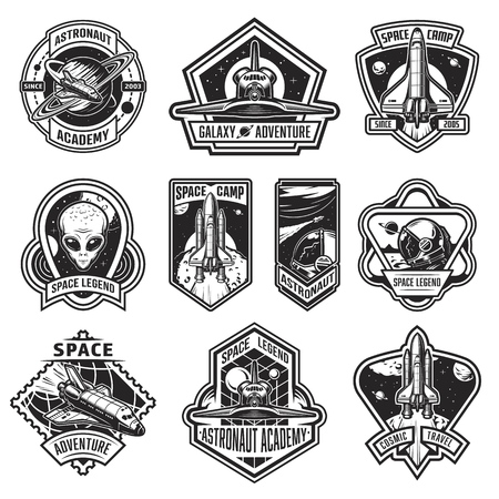 Set of vintage space and astronaut badges, emblems, logos and labels. Monochrome style. Vector illustration Vettoriali