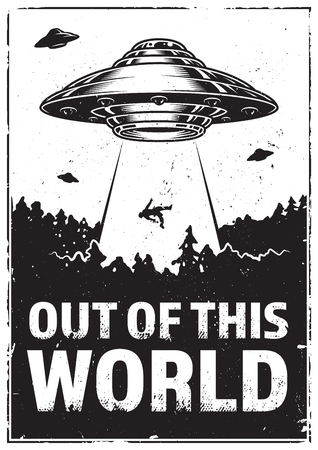 OVNI enlève l'homme. Vaisseau spatial UFO rayon de lumière dans le ciel nocturne. Illustration vectorielle en style vintage Vecteurs