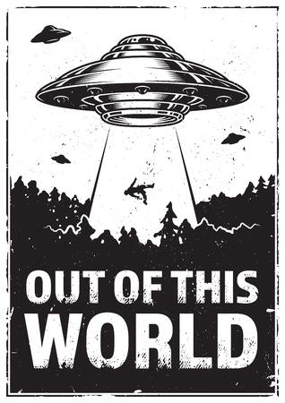UFO seqüestra humano. Raio do UFO do navio de espaço da luz no céu nocturno. Vetorial, ilustração, em, vindima, estilo Ilustración de vector