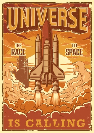 Space shuttle taking off on a mission. Vector vintage poster. Фото со стока - 94987160