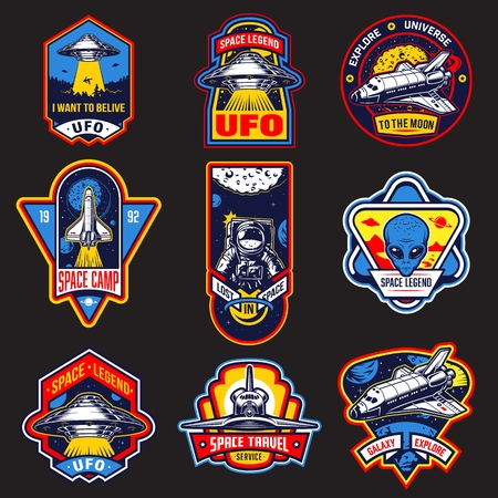 Set of vintage space and astronaut badges, emblems, logos and labels. Monochrome style. Vector illustration Çizim