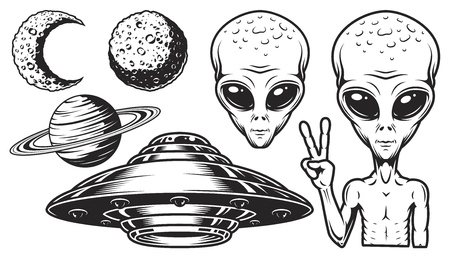 Aliens and ufo set of vector objects and design elements in monochrome style isolated on white background Ilustração