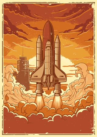 Space shuttle taking off on a mission. Vector vintage poster. Stock Illustratie