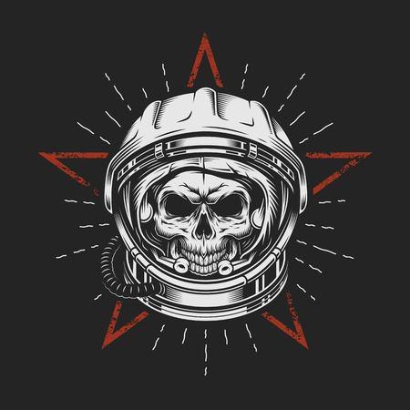 Skull in space helmet vector illustration