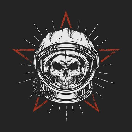 Skull in space helmet vector illustration