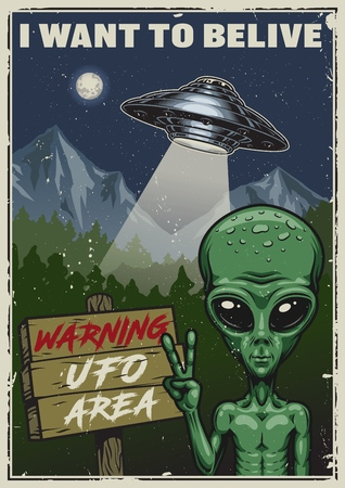 I want to believe poster concept vector illustration