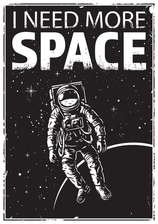 Astronaut in space with funny quote vector illustration Banco de Imagens - 95379455