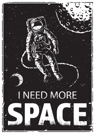 Astronaut in space with funny quote vector illustration Çizim