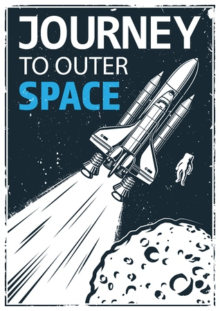 Vintage space journey poster vector illustration