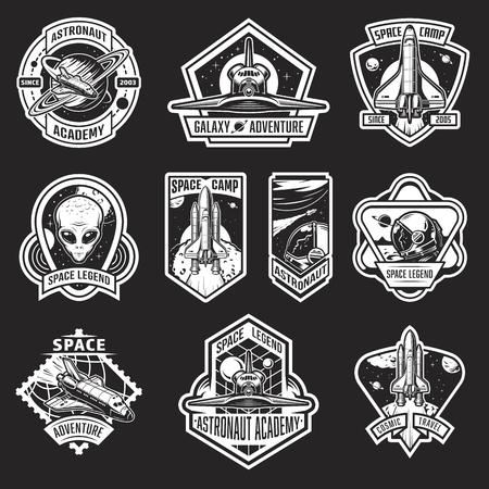 Set di badge spazio e astronauta vintage