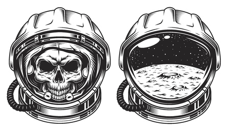 Skull in space helmet with star. Poster, emblem concept 일러스트