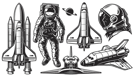 Set of vector monochrome of space. Elements of design on a white background. Vector illustration. Vettoriali