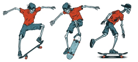Set of skeleton skateboarders.