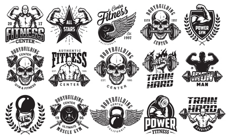Set of bodybuilding emblems with skull and barbell Vectores