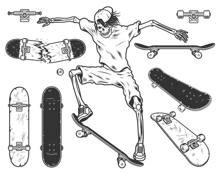 Set of skateboards with skeleton skateboarder