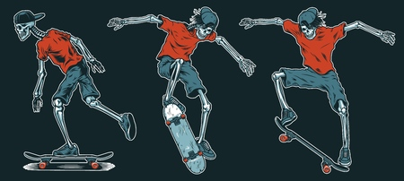 Set of skeletons skateboarders.