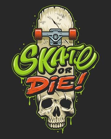 スケートボラディングティープリント  イラスト・ベクター素材
