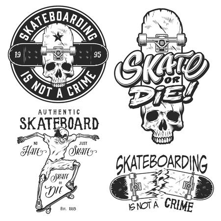 Set of skateboarding emblems in black colour isolated on white. Vector illustration