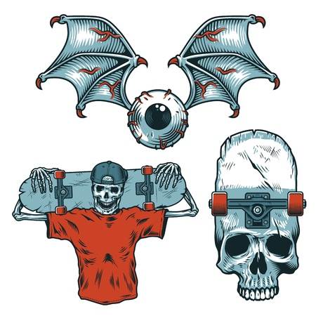 Set of skateborading objects illustration design Vectores