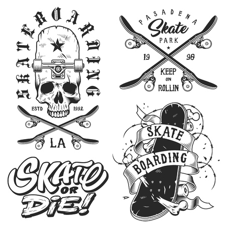 Set of skateboarding emblems character drawing design