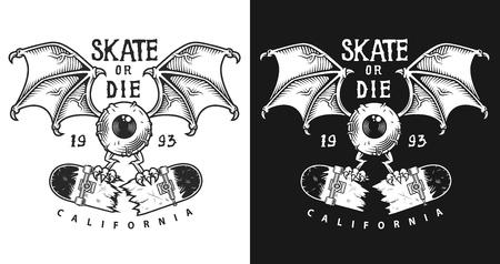 Colour emblem design with skate illustration design