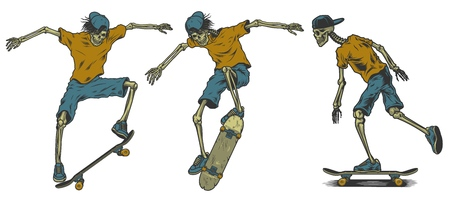 Set of skeletons skateboarders on white background Stock Illustratie