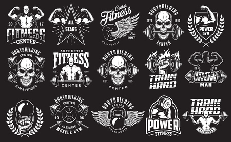 Set van bodybuilding emblemen grafisch illustratieontwerp Stockfoto - 97429231