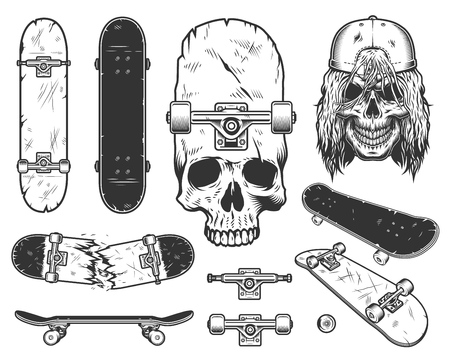 Set of skateboards design, decotative paintings Illustration