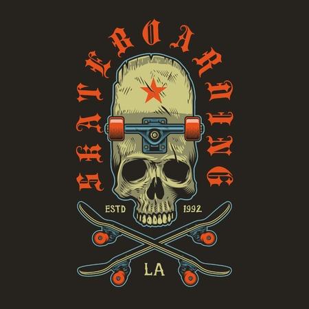 Color skateboarding print with skull and skateboard