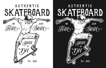 Vintage skateboarding poster with skeleton skateboarding