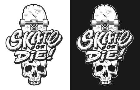 Skateboarding tees print -lettering of skate or die on skull