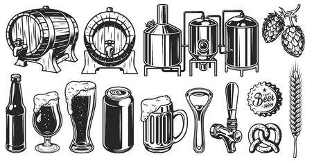 Bier object ingesteld Stock Illustratie