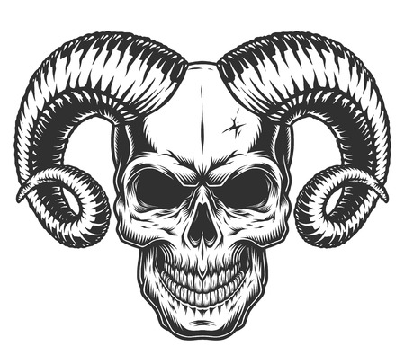 Skull with horns Vector illustration.