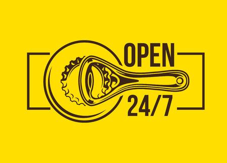Bottle opener sign with open 247 text Ilustração