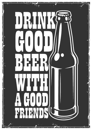 Typographic retro grunge beer poster. Vector illustration.