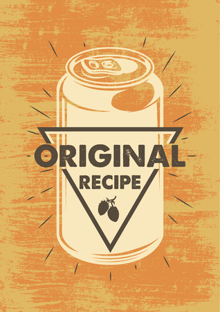 Vintage can beer colour poster. Vector illustration 일러스트