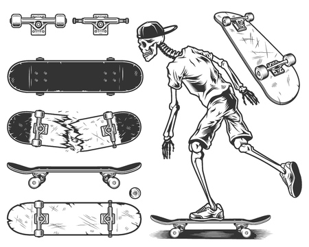 Set of skateboards and skeleton skateboarder