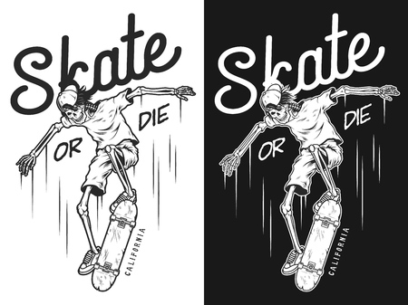 Vintage skateboarding poster, in black and white Illustration.