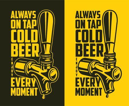 Grifo de cerveza con presupuesto publicitario: siempre cerveza fría de barril en todo momento. Elemento de diseño para cervecería. Ilustración vintage vector