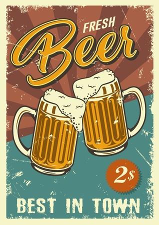 Cartel de diseño vintage con jarras de cerveza. Ilustración de vector